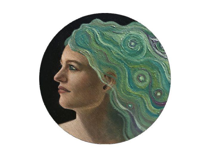 woman side view green hair