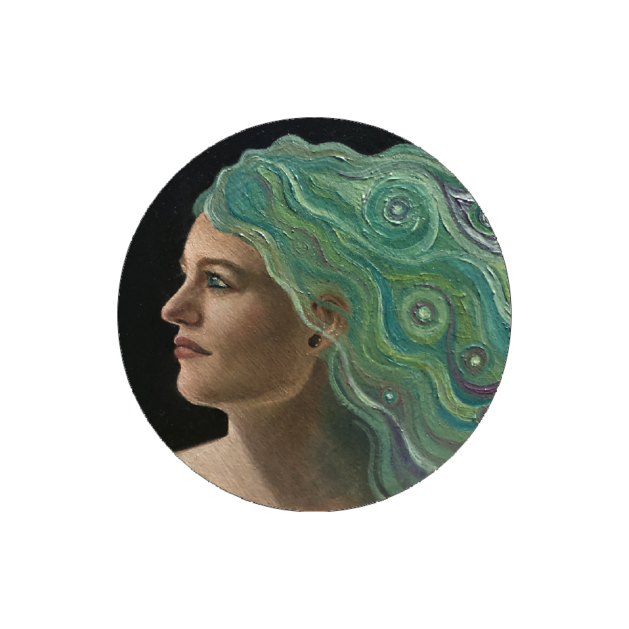 woman side view green hair