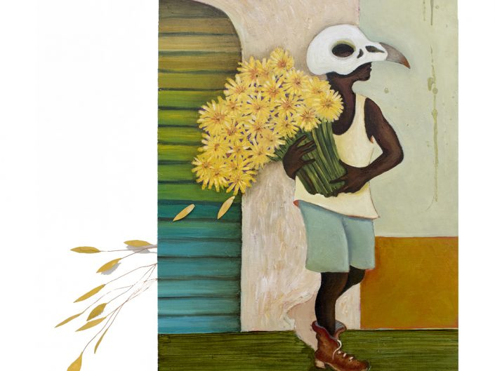 man, sunflowers, bird mask, colorful