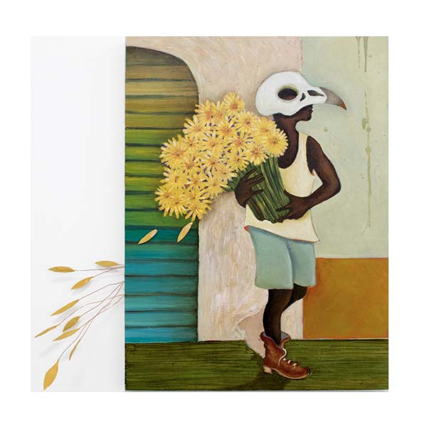man in bird skull mask and sunflowers