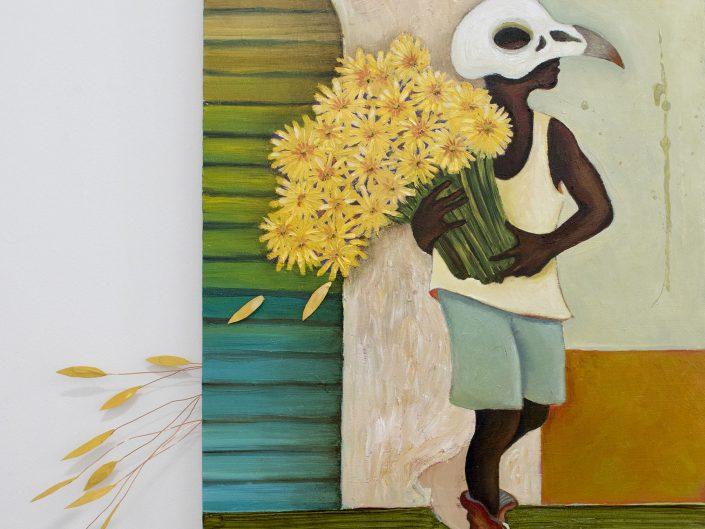 man, bird skull mask, sunflowers, colorful