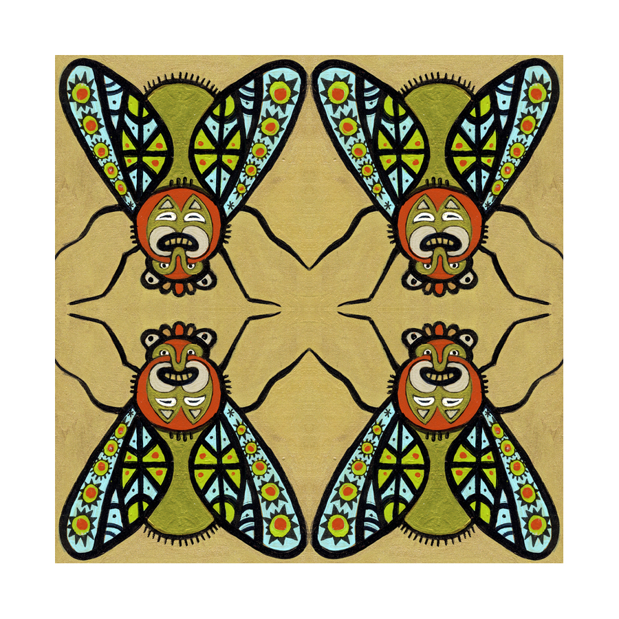 geometric patterns, masks, abstract insects, mirror imagery