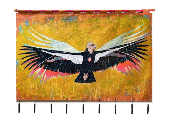 california condor in flight on multi color bg