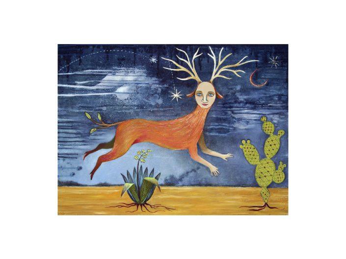 female mythical deer figure running in desert landscape at night