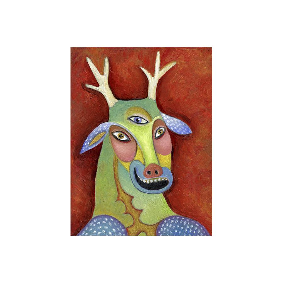 mask, deer, third eye, oil painting
