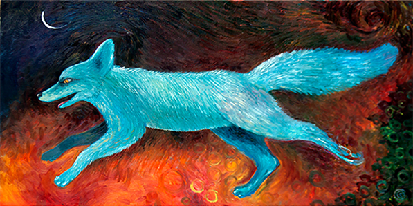 This painting was inspired by a dream of a fox running unafraid through a flaming landscape.