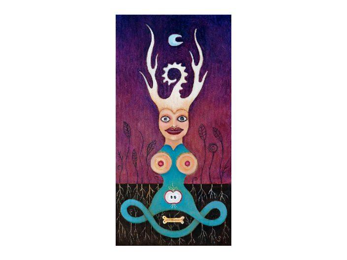 antlered female figure with moon, plants, eternity symbol, fruit and bone