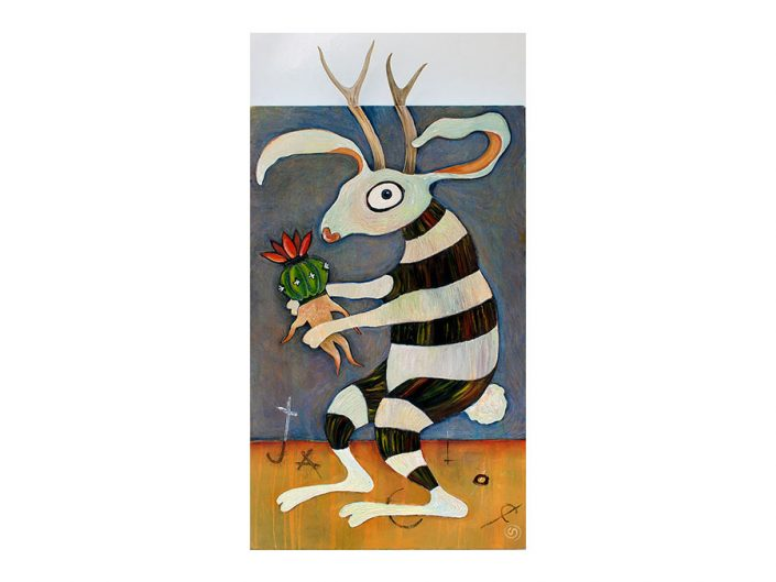 Jackalope, mandrake, antlers, stripes, peyote cactus