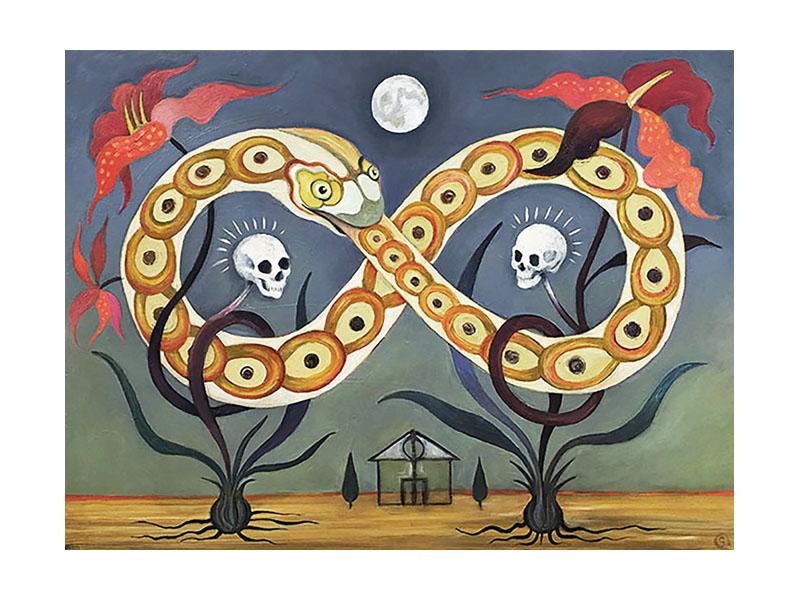 snake, skulls, flowers and house in surreal landscape