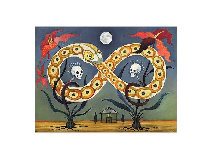 snake, eternity symbol, house, skulls, lilies, moon
