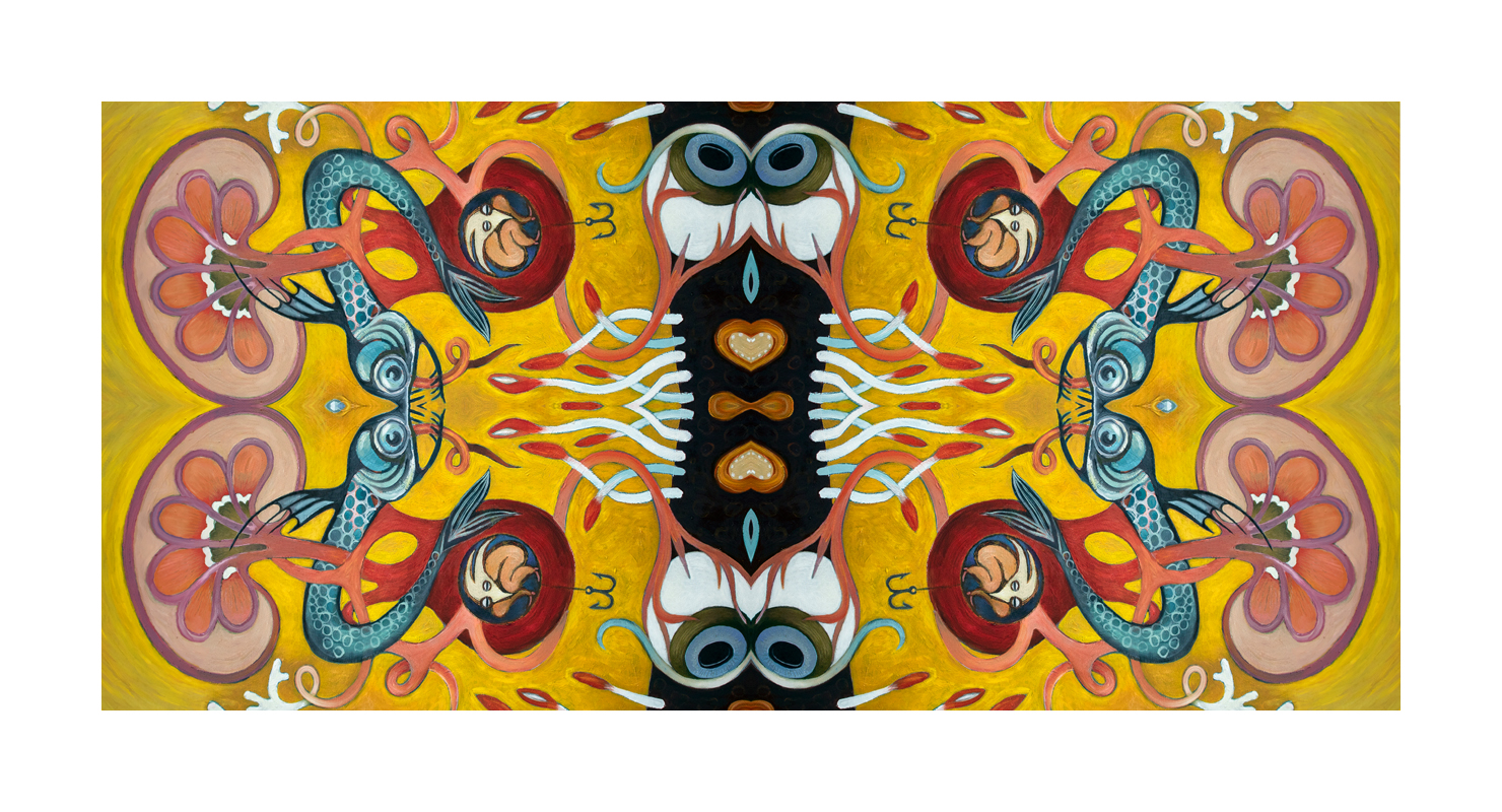 eyes, figures, yellow background, abstract organic forms, deep sea fish, mirror imagery