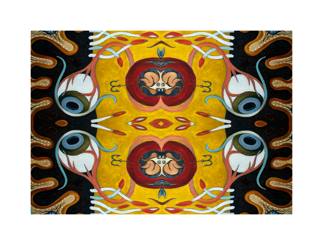 eyes, tube worms, figures, abstract organic forms, mirror imagery