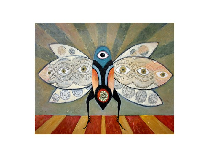 insect totem with eyes, sun rays, mystical feeling