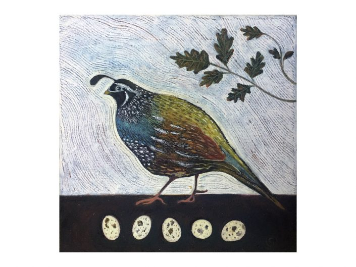 quail, oak branch, quail eggs