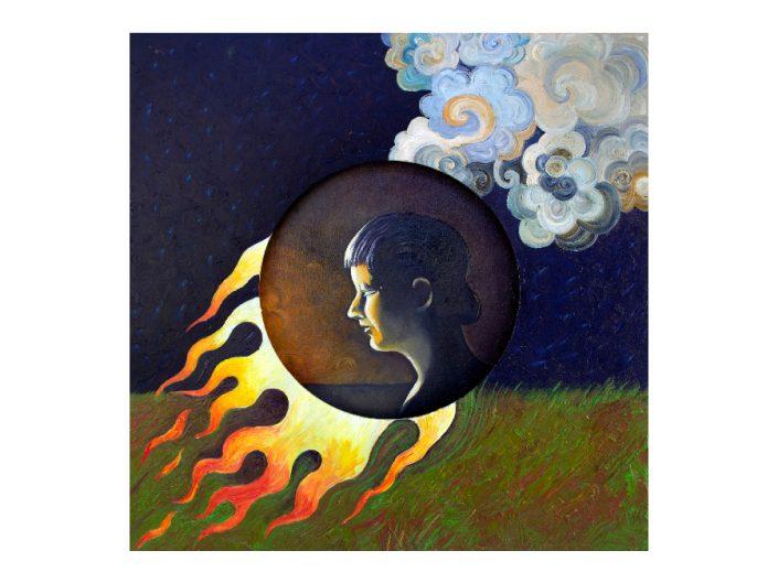fire, smoke, prairie, woman