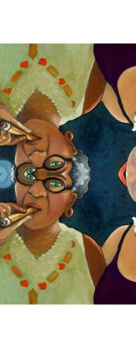 women, cigars, smoke, mirror imagery