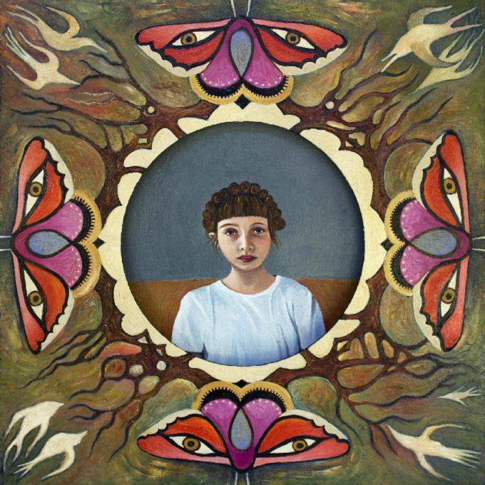 girl-butterflies-birds-forest-window-sky