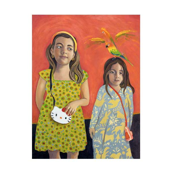 two girls and a parrot on red background
