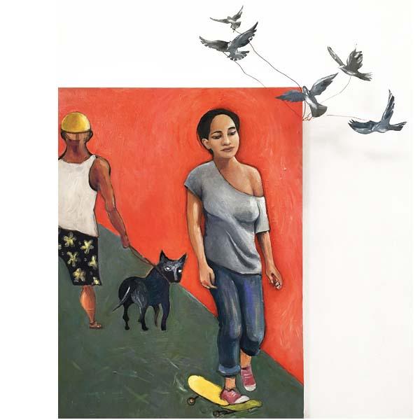 girl on skateboard with red bg