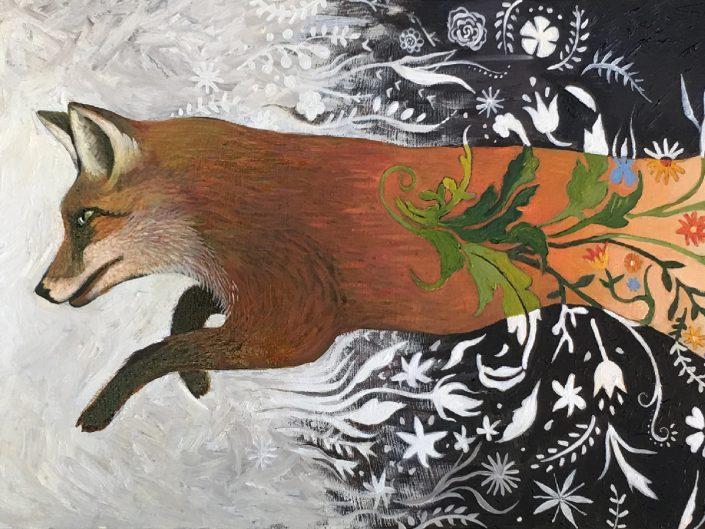 flowery fox chasing rabbits