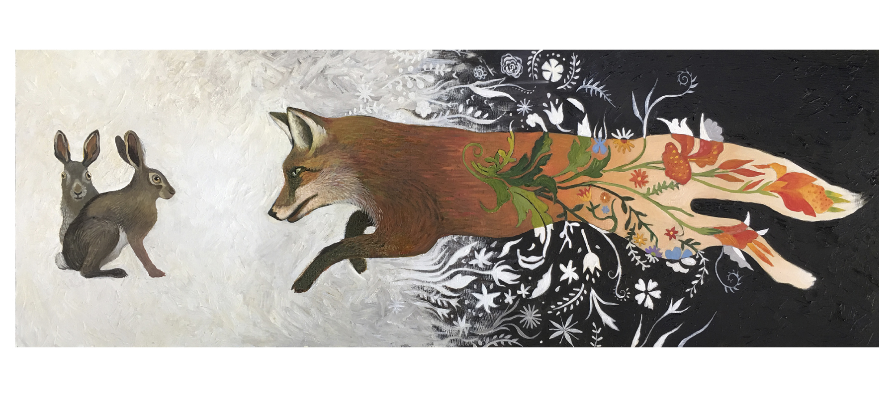 fox and hares in surreal landscape