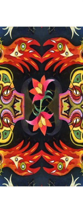 flowers, birds, masks, fish, abstract forms, mirror imagery