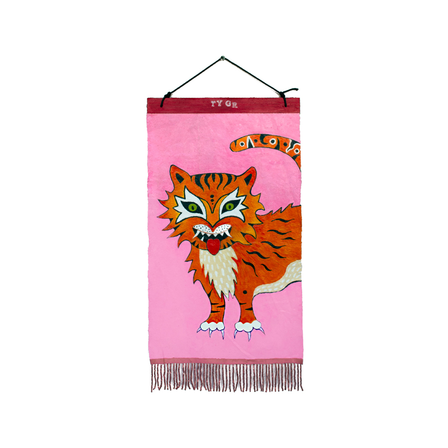 cartoon tiger on pink background