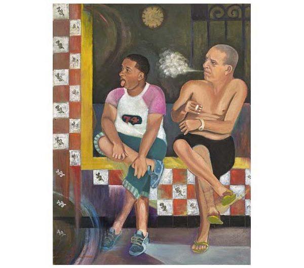 two men on tiled stoop