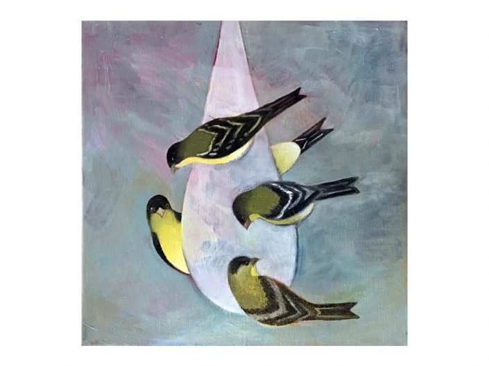 goldfinches, feeding birds, oil painting,