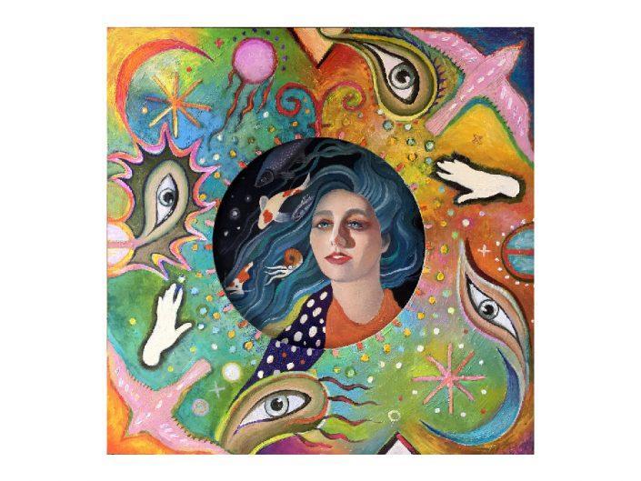 mermaid, birds, magical symbols, psychedelic