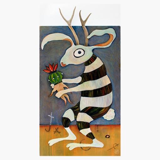 """18"""" x 36"""" oil on canvas with deer antlers. The Jackalope is cradling a Peyote mandrake. Jackalopes were first described by the Huichol tribe in Mexico."""