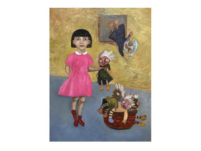 girl, rag dolls, basket, red socks,