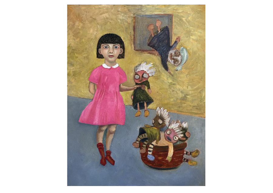 girl, rag dolls, basket, red socks,
