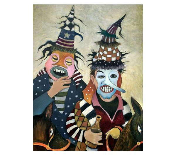 two masked men on horses