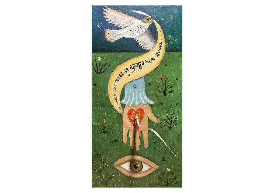 heart, arrow, eye, landscape, hawk, banner, Pablo Neruda poem