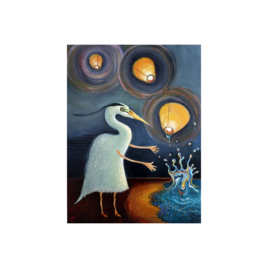 snowy egret with candle lanterns rising out of water at night